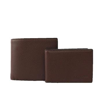 COACH 素面全皮對開短夾(附證件夾)(咖啡色) F74991 MAH