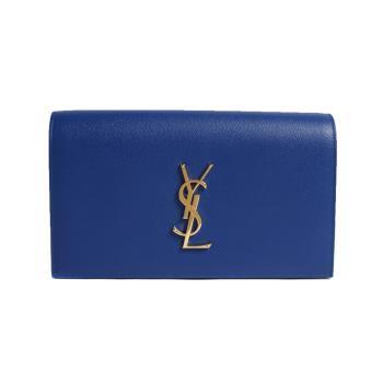 YSL Saint Laurent 荔枝皮經典logo掀蓋手拿包/晚宴包(寶藍)