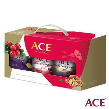 【ACE】新春年節 堅果果乾禮盒(軟嫩蜜棗乾+大蔓越莓乾+每日健康纖果)