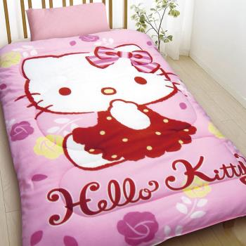 【HELLO KITTY】 時尚玫瑰暖暖毯被組