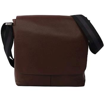 COACH 素面皮革翻蓋 斜/側背包(咖啡色)F72362 MAH