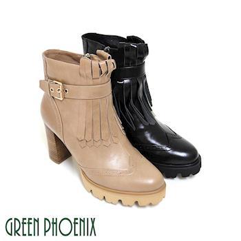 GREEN PHOENIX 國際精品牛津流蘇金屬飾扣義大利雙色油臘牛皮粗高跟短靴-駱駝色、黑色
