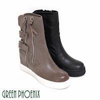 GREEN PHOENIX 國際精品雙金屬扣義大利進口油臘牛皮拉鍊內增高短靴-咖啡色、黑色
