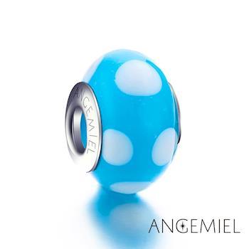 Angemiel安婕米 義大利925純銀 天藍點點 琉璃珠