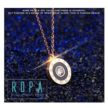316鈦鋼圓牌羅馬數字單鑽項鏈 18K玫瑰金鎖骨鏈【E071196】