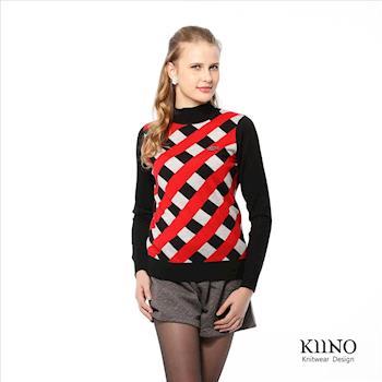 【KIINO】斜紋寬編織提花羊毛衫(黑3822-1051-01)