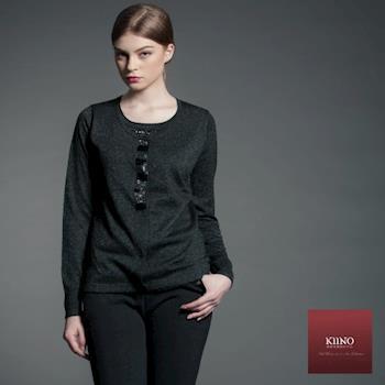 KIINO 奢華感縫珠假兩件混紡羊絨衫(3822-1047)