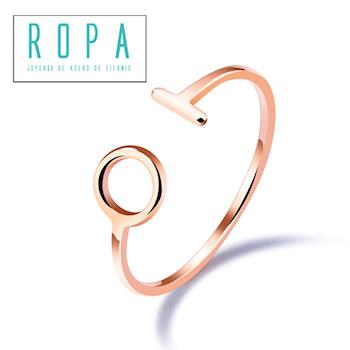 316钛鋼玫瑰金設計感簡約幾何開口食指環戒指【E07533】