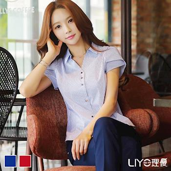 【LIYO 理優】襯衫女裝直紋花苞短袖OL襯衫E735009