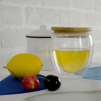 Homely Zakka 午茶食光隔熱保溫双蓋雙層玻璃杯竹蓋密封罐輕食甜點杯 250ml