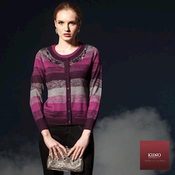 KIINO 寬版混色華麗縫珠假兩件針織衫