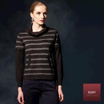 【KIINO】活潑垂領亮蔥條紋假兩件針織衫(黑 3842-1015)
