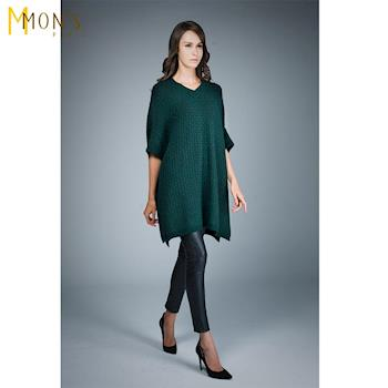 MONS威尼斯針織羊毛寬版雙色上衣