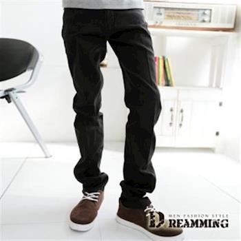 【Dreamming】韓版斜紋布伸縮小直筒褲(黑咖啡)