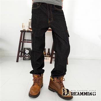 任-【Dreamming】多口袋中直筒伸縮牛仔褲(黑色)