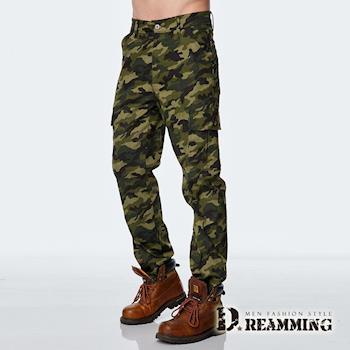 任-【Dreamming】軍規迷彩多口袋休閒工作長褲(綠色)
