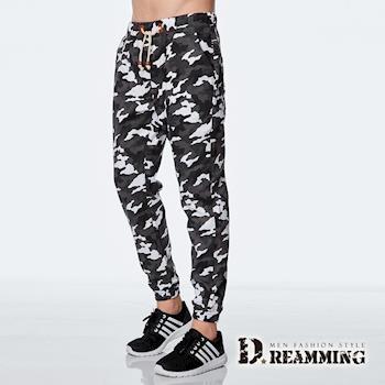 【Dreamming】時尚迷彩皮標抽繩束口休閒長褲(灰白)