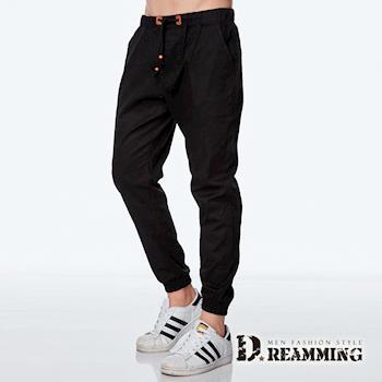 【Dreamming】韓系潮款皮標抽繩束口休閒長褲(黑色)