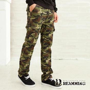 任-【Dreamming】哈韓迷彩多口袋休閒工作長褲