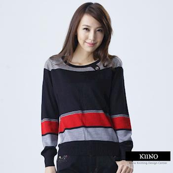 【KIINO】 圓領造型活潑俏麗撞色針織衫 (3842-1861)