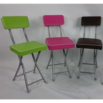 BROTHER 兄弟牌丹寧PU厚墊有背折疊椅-灰色/桃紅色/果綠色/咖啡色*4入(可任選)