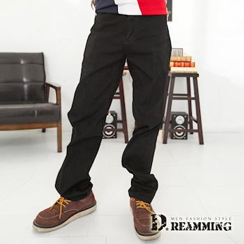 【Dreamming】韓版斜紋布伸縮中直筒褲(黑色)