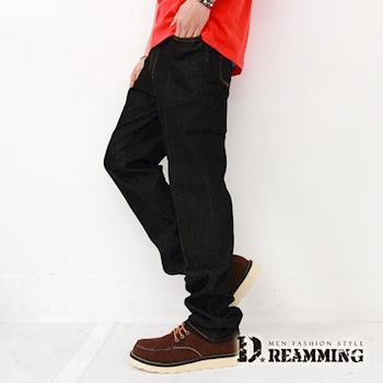 【Dreamming】俐落電繡後口袋伸縮單寧小直筒褲(黑色)