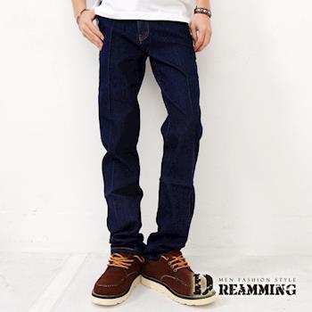 【Dreamming】俐落電繡後口袋伸縮單寧小直筒褲(深藍)