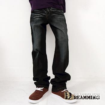 【Dreamming】電繡後口袋刷色伸縮單寧中直筒褲