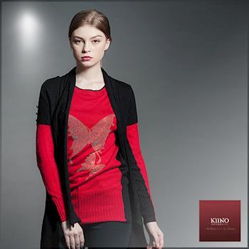 KIINO 燙鑽垂襟造型短袖針織罩衫
