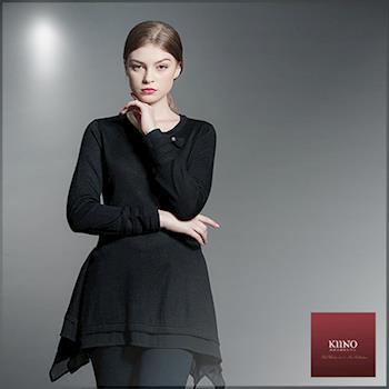 【KIINO】雪紡貼邊立體剪裁中長版針織上衣(3852-1913)