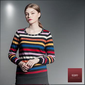KIINO 繽紛色彩燙鑽圓領針織上衣