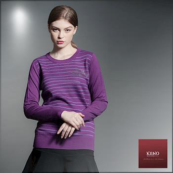 【KIINO】提花細條紋保暖針織上衣(3852-1968)