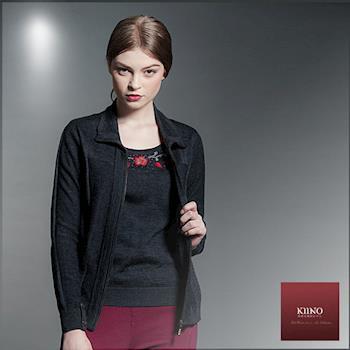 【KIINO】精工縫繡翻領假兩件針織套裝(3852-1920)