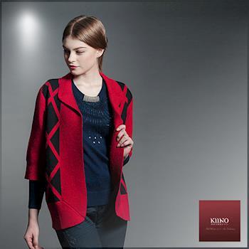 【KIINO】菱形復古五分袖針織外套(3852-1998)