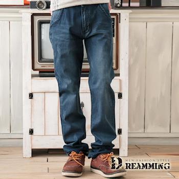 【Dreamming】日系刷色抓痕造型口袋單寧中直筒褲