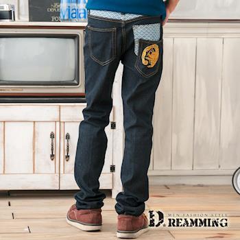 【Dreamming】日系竇龍圖騰口袋單寧小直筒褲