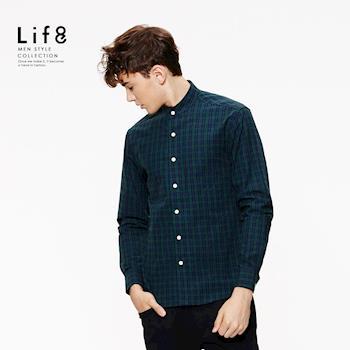 Life8-Casual 法蘭絨 細格立領 長袖襯衫-03886