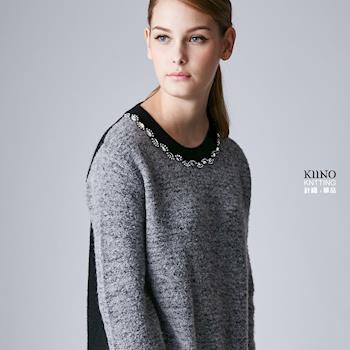 KIINO 圈圈紗鑽飾圓領中長版針織上衣