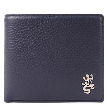 agnes b.金屬蜥蜴荔枝皮男短夾/含錢袋(深藍)