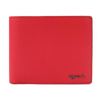 agnes b.立體凸紋防刮男短夾/含錢袋(紅)