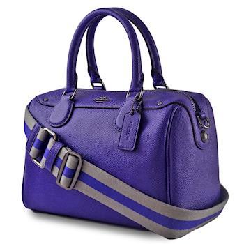 COACH 織布寬背帶防刮手提/斜背二用波士頓包-小/紫色