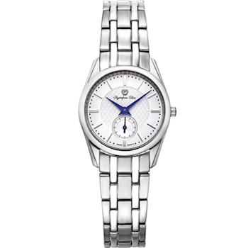 Olympia Star 奧林比亞之星-經典都會系列小秒針時尚計時腕錶(都會銀)58072LS