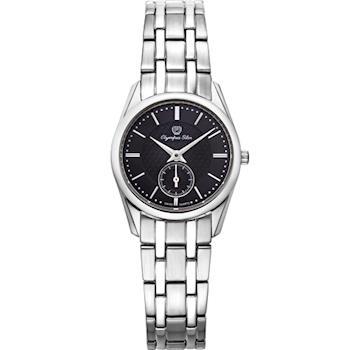 Olympia Star 奧林比亞之星-經典都會系列小秒針時尚計時腕錶(內斂黑)58072LS