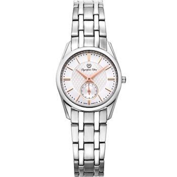 Olympia Star 奧林比亞之星-經典都會系列小秒針時尚計時腕錶(品味白)58072LS