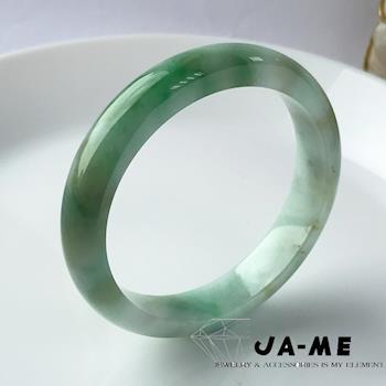 JA-ME天然A貨翡翠白底青飄陽綠玉鐲#17.5-18圍