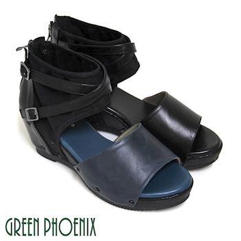 GREEN PHOENIX 交叉皮扣彈性萊卡拼接全真皮楔型魚口涼鞋-深藍色、黑色