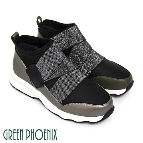 GREEN PHOENIX 國際精品彈性金蔥帶日本奈米萊卡拼接皮革低筒休閒鞋-深綠色、鐵灰色