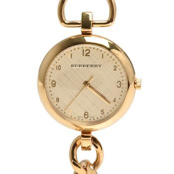 BURBERRY WATERLOO藍寶石鏡面鍍金石英女仕腕錶(金色33mm)