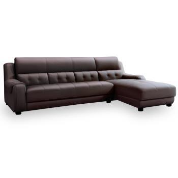 【時尚屋】海柔爾沙發咖啡色半牛皮L型MT7-330-1免組裝/免運費/沙發